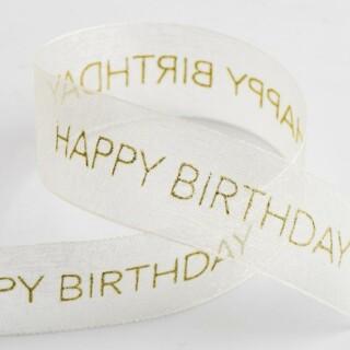 Happy Birthday Organza Lint Ivoor