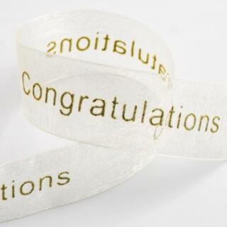 Congratulations Organza Lint Ivoor