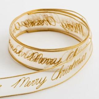 Merry Christmas Organza Lint Verstevigde rand Goud