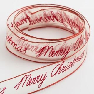 Merry Christmas Organza Lint Verstevigde rand Rood