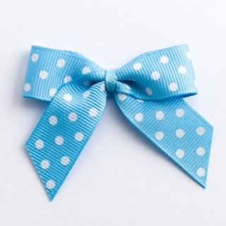 Polka Dot Grosgrain Strikjes Lichtblauw (Zelfklevend) 5 cm - 12 stuks