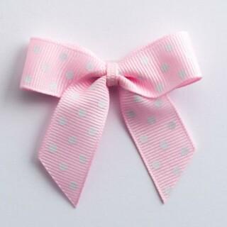 Polka Dot Grosgrain Strikjes Roze (Zelfklevend) 5 cm - 12 stuks