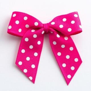 Polka Dot Grosgrain Strikjes Shocking Pink (Zelfklevend) 5 cm - 12 stuks