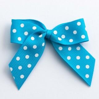 Polka Dot Grosgrain Strikjes Turquoise (Zelfklevend) 5 cm - 12 stuks