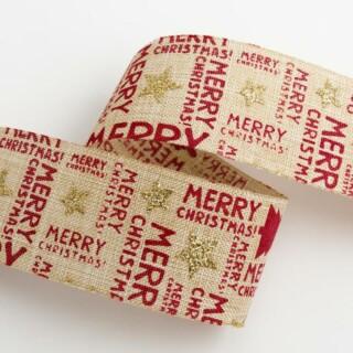 Merry Christmas Hessian Lint Naturel