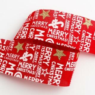 Merry Christmas Hessian Lint Rood