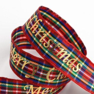 Merry Christmas Schotse Ruit Lint - 16 mm x 10 M
