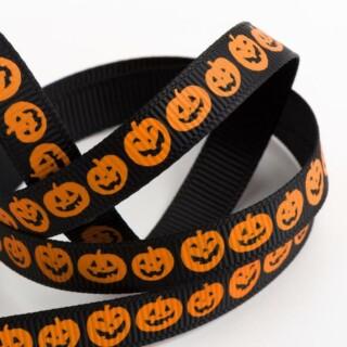 Halloween Grosgrain Lint Pompoen Zwart