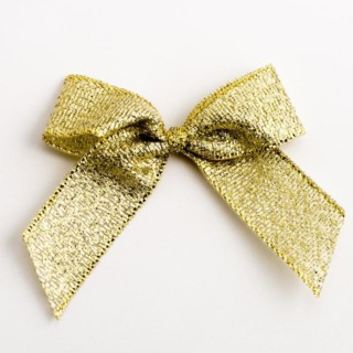 Lurex Strikjes Metallic Goud (Zelfklevend) 5 cm - 12 stuks