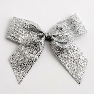 Lurex Strikjes Metallic Zilver (Zelfklevend) 5 cm - 12 stuks