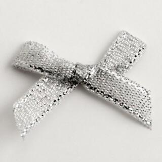 Lurex Strikjes Metallic Zilver 3 cm - 100 stuks