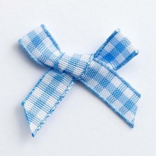 Gingham-ruit Strikjes Blauw 3 cm - 100 stuks