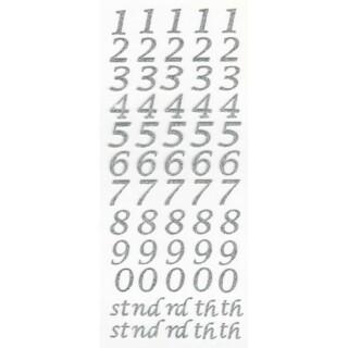 Zelfklevende Nummers Script - Zilver Glitter