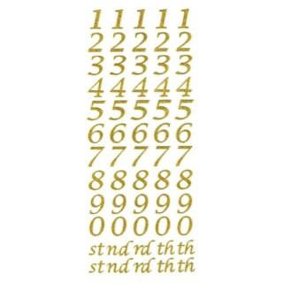 Zelfklevende Nummers Script - Goud Glitter