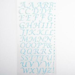 Zelfklevende Letters Script - Blauw Glitter