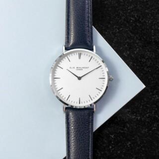 Elie Beaumont Leren Dames Horloge Navy & Zilver Gepersonaliseerd