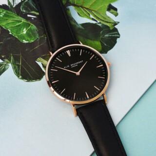 Elie Beaumont Leren Dames Horloge Zwart Gepersonaliseerd