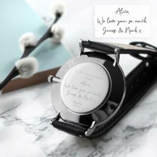 Handschrift Gegraveerd Leren Dames Horloge Zwart