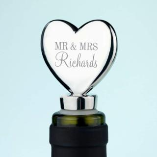 Hartvormige Zilveren Wijnstop met Namen