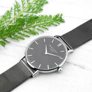Mr Beaumont Heren Horloge Grijs Metallic & Zwarte Wijzerplaat Gepersonaliseerd