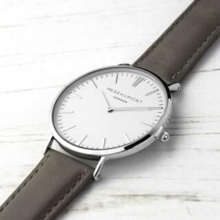 Mr Beaumont Leren Mannen Horloge Ash Grey Gepersonaliseerd