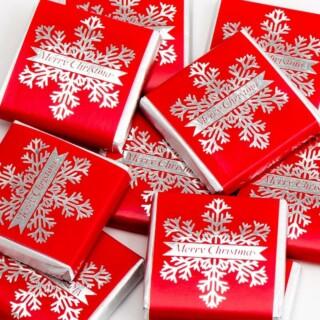 Kerst Chocolade Sneeuwvlok - Rood & Zilver