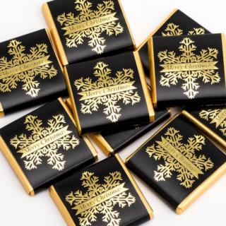 Kerst Chocolade Sneeuwvlok - Zwart & Goud