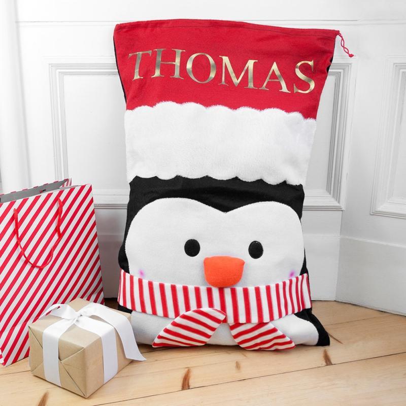 Zak van de Kerstman met Naam Kind & Pinguïn