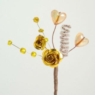 Metallic Roos & Harten Goud - 12 stuks