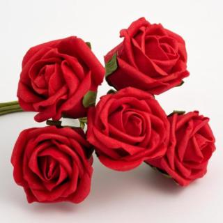 Foam Roosjes Kleurecht - Rood 5 cm - bosje van 6