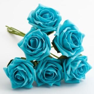 Foam Roosjes Kleurecht - Turquoise 5 cm - bosje van 6