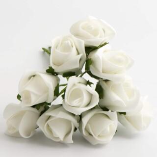 Foam Roosjes Kleurecht - Wit 3.5 x 5 cm - bosje van 10