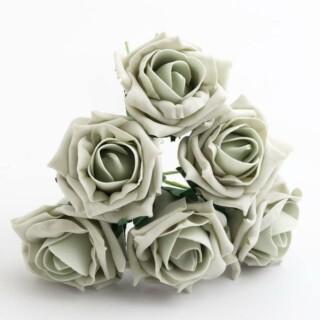 Foam Roosjes Kleurecht - Zilver 5 cm - bosje van 6