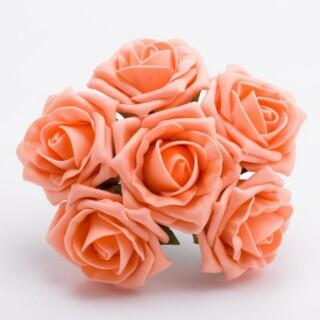 Foam Roosjes Kleurecht - Peach 5 cm - bosje van 6