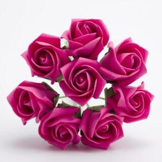 Foam Roosjes Kleurecht - Hot Pink 3 cm - bosje van 8