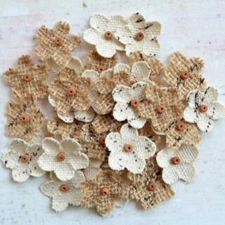 Jute & Canvas Bloemen Mini - 40 stuks