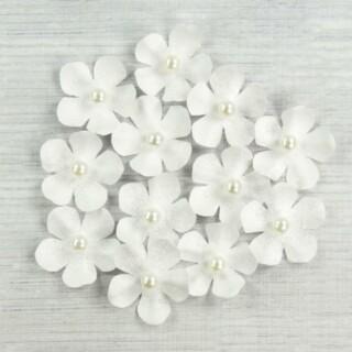 Glitter Papieren Bloemen - Wit 12 stuks