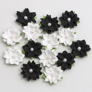 Papieren Bloemen met Parel - Zwart/ Wit 14 stuks