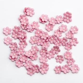 Glitter Papieren Bloemen Mini - Roze 60 stuks