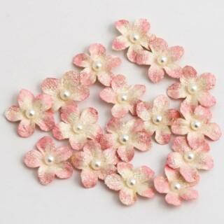 Glitter Papieren Bloemen Petite - Roze 16 stuks