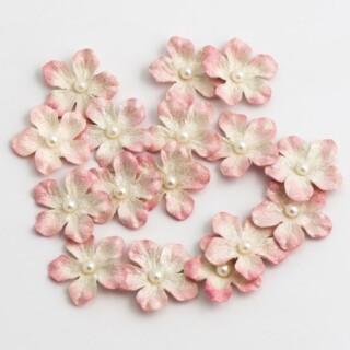 Glitter Papieren Bloemen Klein - Wit 16 stuks