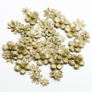 Glitter Bloemetjes - Goud 50 stuks