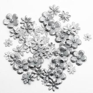 Glitter Bloemetjes - Zilver 50 stuks