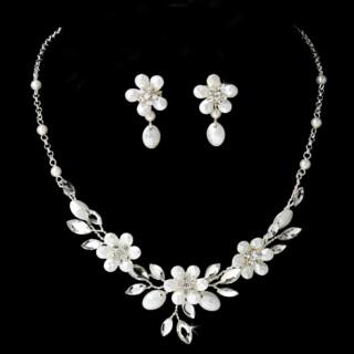 Sieraden set Bridal Silver Floral