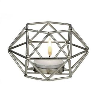 Waxinelichthouder Zilver Geometric